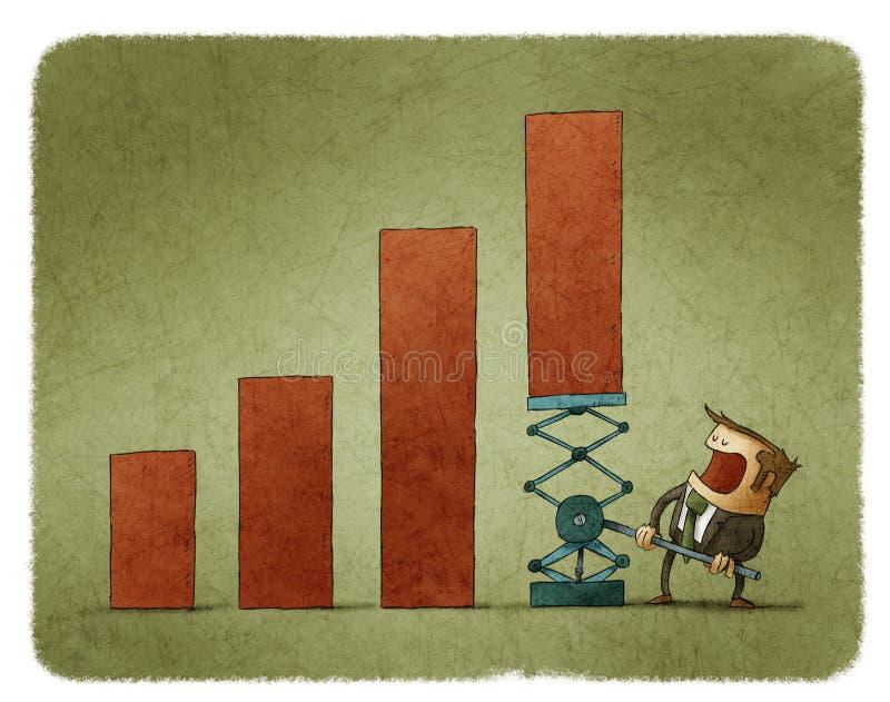 Equipaggi il sollevamento del grafico con aiuto della leva illustrazione di stock