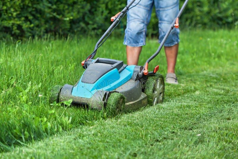 Equipaggi il taglio dell'erba con una falciatrice da giardino immagine stock