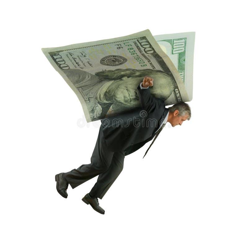 Equipaggi il volo sulle ali di soldi che rappresentano il successo di investimenti finanziari fotografie stock libere da diritti