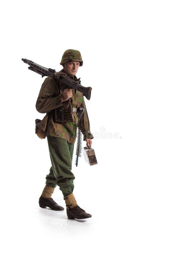 Equipaggi l'attore nel ruolo di film di un militare anziano WWII immagine stock libera da diritti