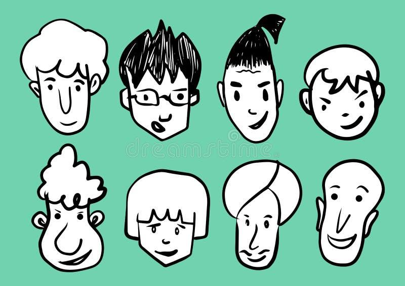 Equipaggi l'illustrazione di vettore dell'icona del fumetto del fronte, gli uomini che sorridono, la linea l'icona, in bianco e n illustrazione vettoriale