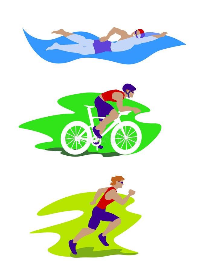 Equipaggi l'insieme colourful che cicla, funzionamento di triathlon dello swimingand fotografia stock
