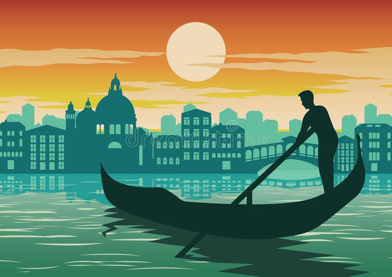 Equipaggi la barca di fila a Venezia, punto di riferimento famoso dell'Italia, su tempo del tramonto royalty illustrazione gratis