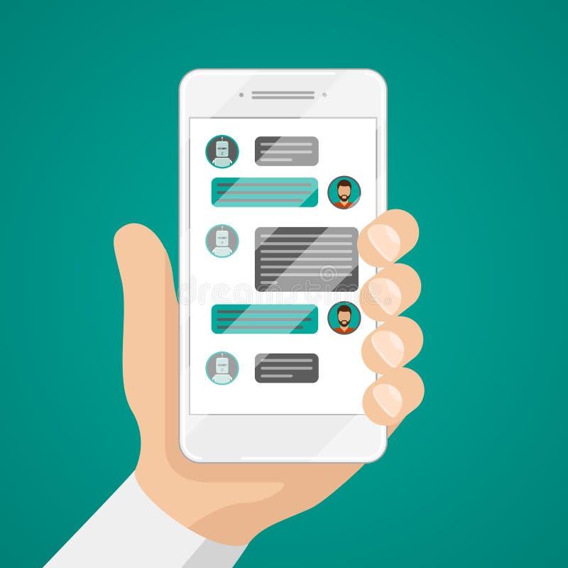Equipaggi la chiacchierata con il bot di chiacchierata sull'illustrazione di vettore dello smartphone illustrazione vettoriale