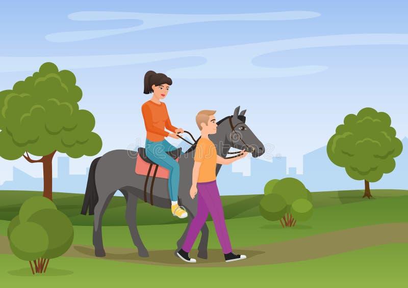 Equipaggi la conduzione del cavallo con la guida della donna su illustrazione di vettore illustrazione vettoriale
