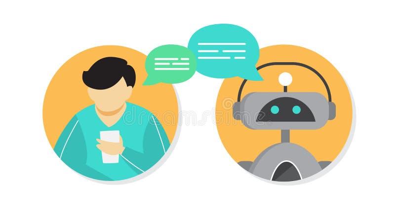 Equipaggi la conversazione con chatbot online sullo smartphone illustrazione vettoriale