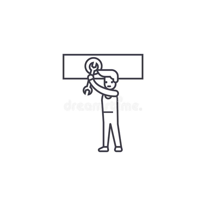 Equipaggi la filatura della linea l'icona, il segno, illustrazione di vettore del dado su fondo, colpi editabili illustrazione di stock