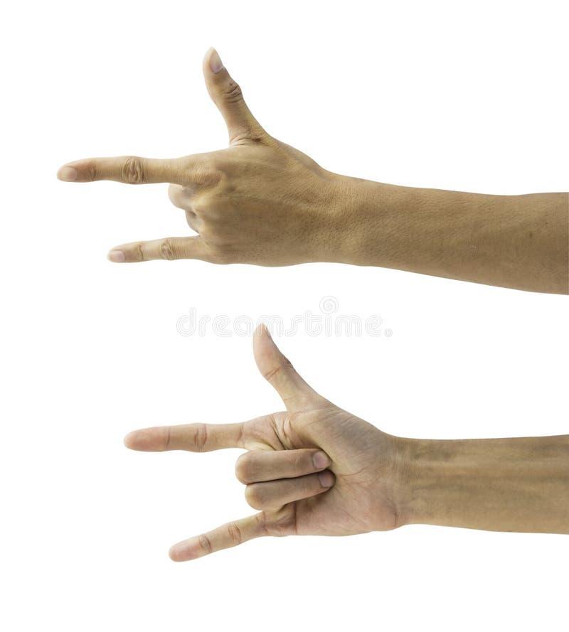 Equipaggi la mano che rende a corni il gesto o il simbolo dell'attuatore sul bianco immagine stock libera da diritti