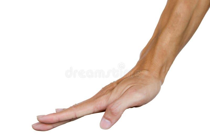 Equipaggi la mano come una mano compressa sulla tavola o su qualcosa Linguaggio del corpo Gesto di mano immagine stock libera da diritti