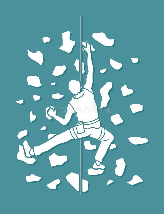 Equipaggi la scalata sulla parete, fare un'escursione dell'interno royalty illustrazione gratis