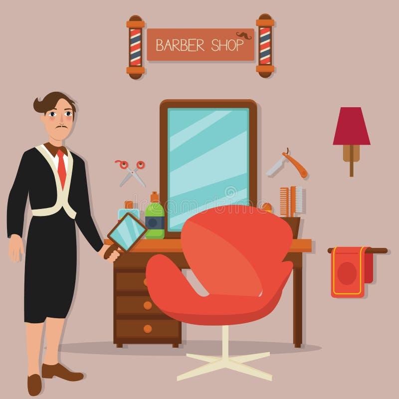 Equipaggi la sedia e gli strumenti diritti di taglio di capelli del parrucchiere del salone di capelli del negozio di barbiere illustrazione di stock
