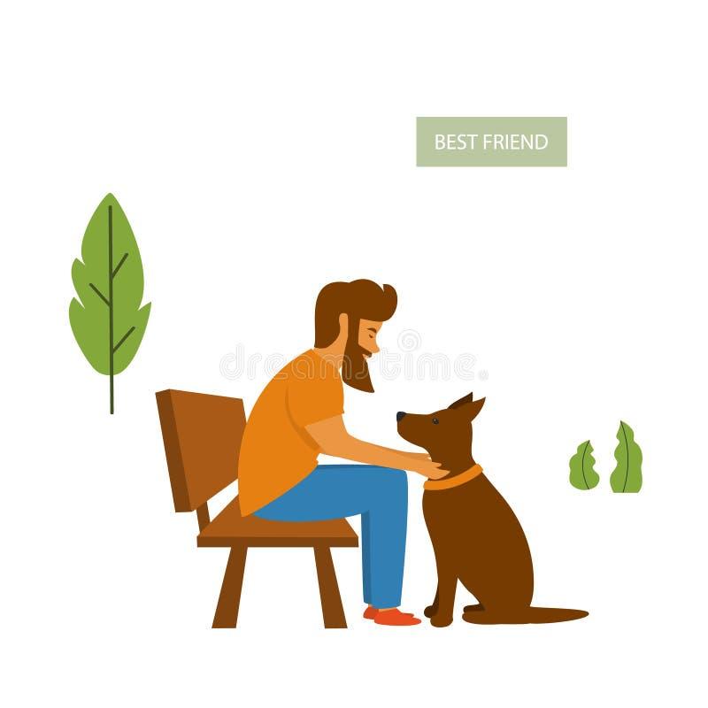Equipaggi la seduta con il suo cane sul banco nel parco illustrazione vettoriale