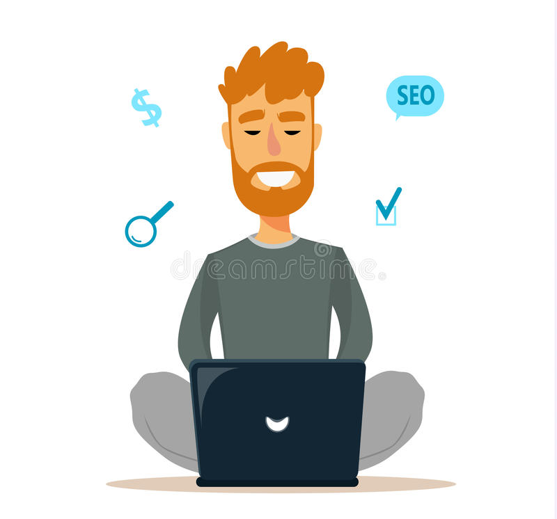 Equipaggi la seduta sul pavimento ed il lavoro con il computer portatile Il giovane creativo usa il suo computato per guadagnare  royalty illustrazione gratis
