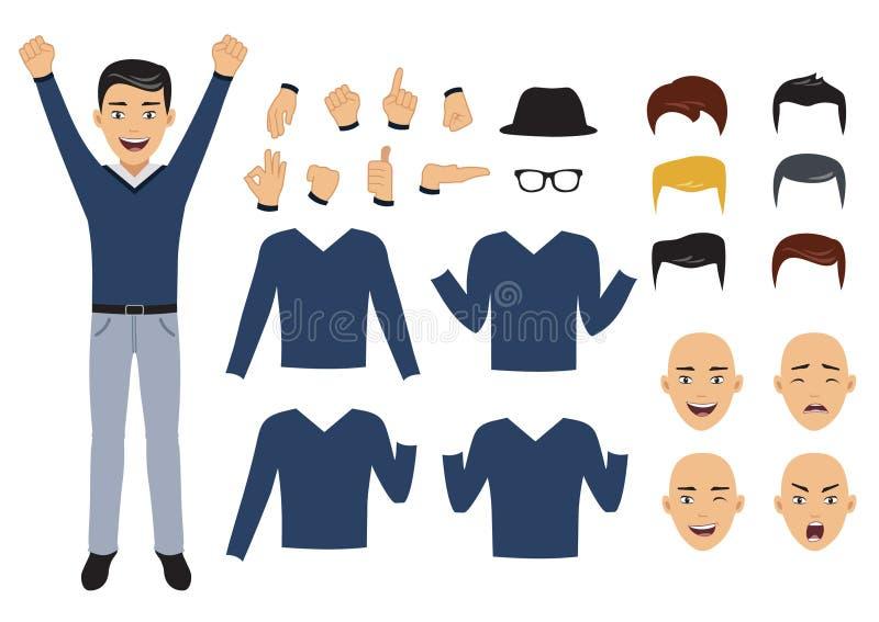 Equipaggi la serie di caratteri con gli elementi del corpo e del fronte, illustrazione di vettore illustrazione vettoriale