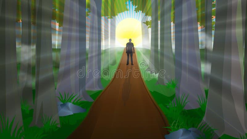 Equipaggi la siluetta che cammina sul percorso verso la foresta di magia della luce del sole royalty illustrazione gratis