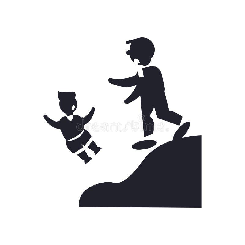 Equipaggi la spinta il segno e del simbolo di vettore dell'icona del bambino isolati su bianco illustrazione vettoriale