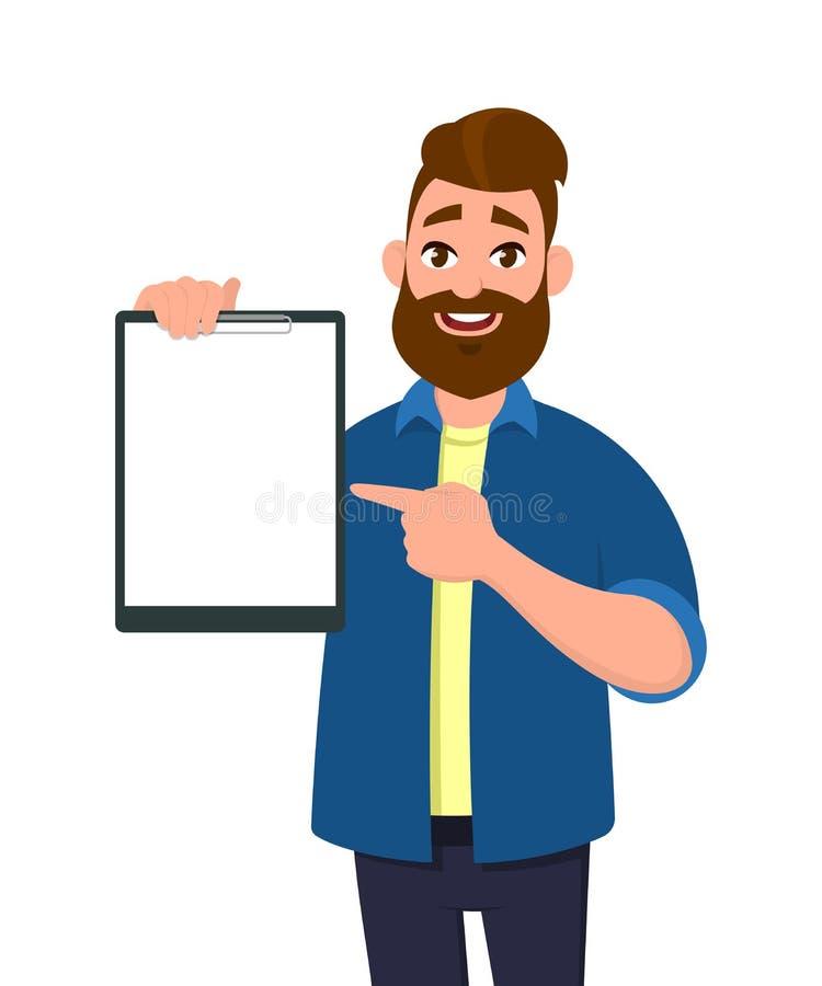 Equipaggi la tenuta/la mostra della lavagna per appunti in bianco ed indicare con il dito indice  illustrazione di stock