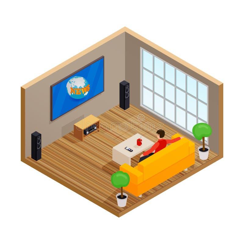 Equipaggi la TV di sorveglianza ed il caffè bevente sul sofà nell'illustrazione interna di vettore dell'aula magna illustrazione di stock