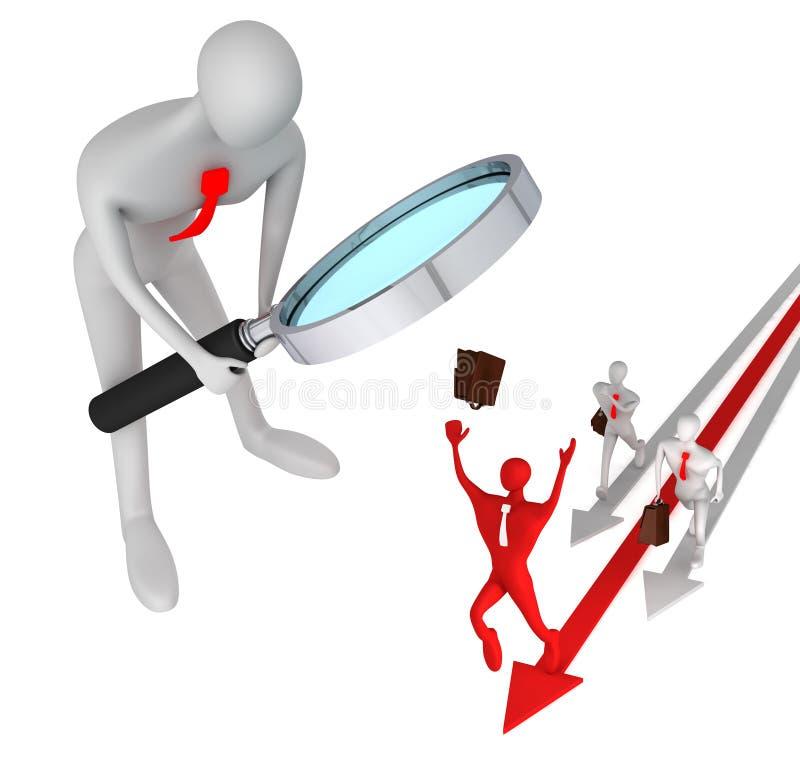 Equipaggi la vigilanza sull'uomo sulla freccia rossa e sui suoi competitori royalty illustrazione gratis