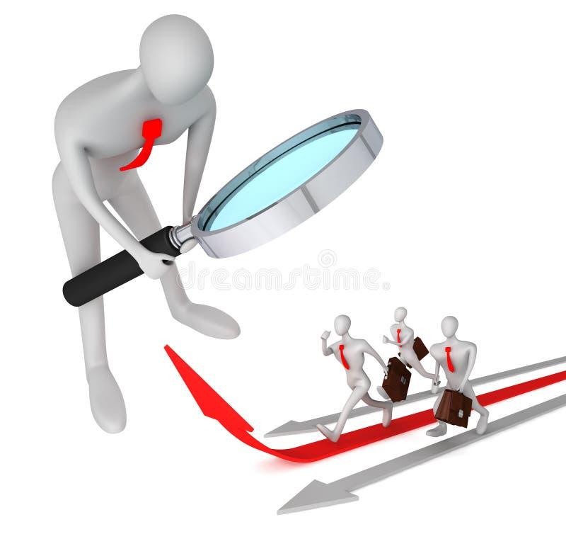 Equipaggi la vigilanza sull'uomo sulla freccia rossa e sui suoi competitori illustrazione di stock