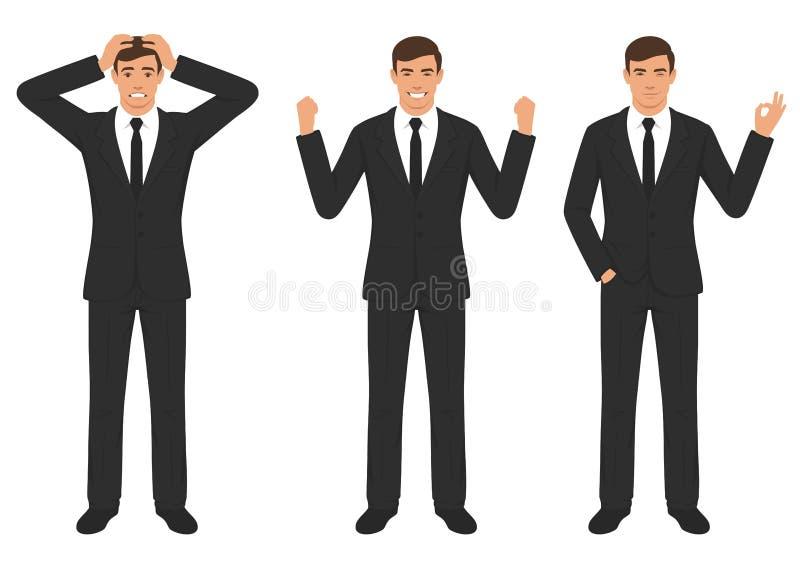 Equipaggi le espressioni di carattere con il gesto di mani, emozione differente di spirito dell'uomo d'affari del fumetto illustrazione di stock