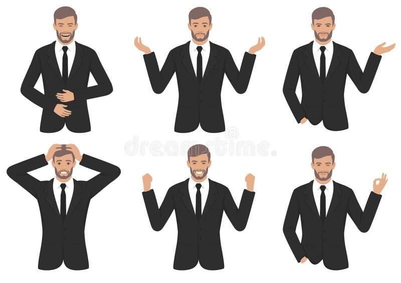 Equipaggi le espressioni di carattere con il gesto di mani, emozione differente di spirito dell'uomo d'affari del fumetto illustrazione vettoriale