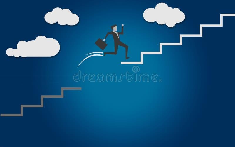 Equipaggi saltano dalla scala bassa all'alta scala illustrazione vettoriale