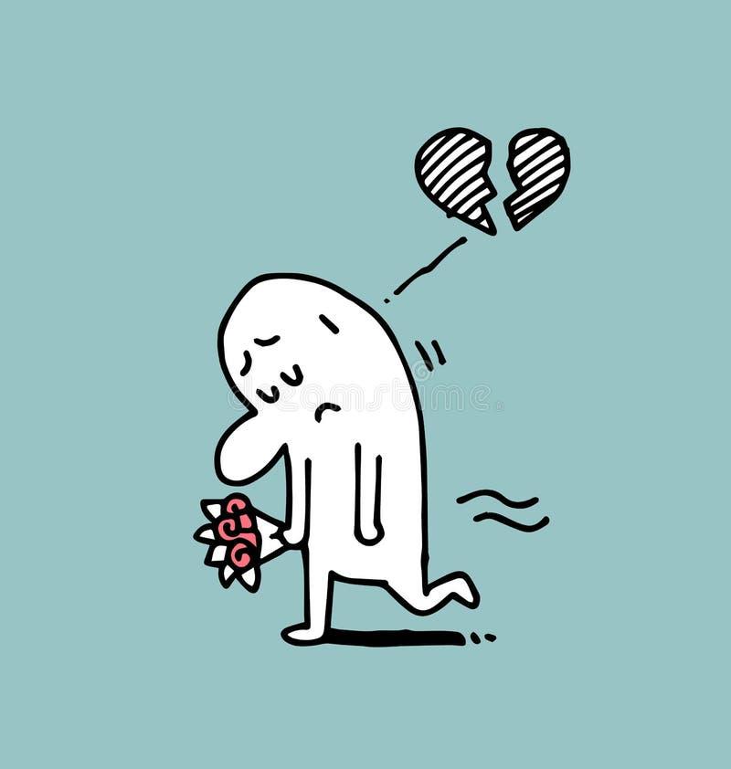 Equipaggi triste ed il cuore rotto, l'uomo semplice, illustrazione di vettore di scarabocchio royalty illustrazione gratis