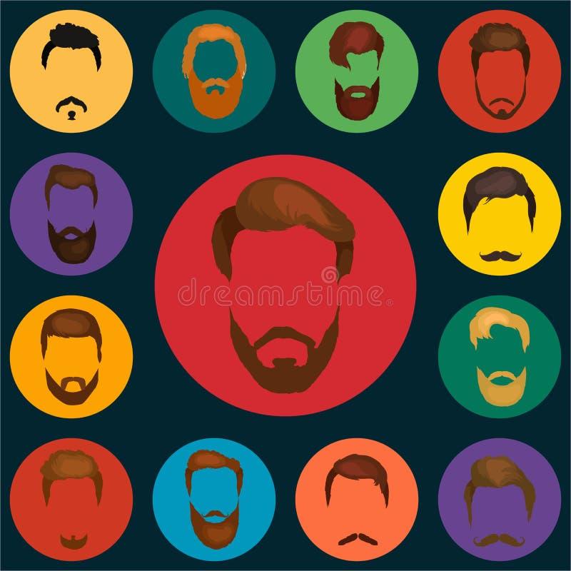 Equipaggia l'insieme dei capelli delle barbe e del vettore dei baffi Le barbe ed i capelli di modo di stile dei pantaloni a vita  illustrazione vettoriale