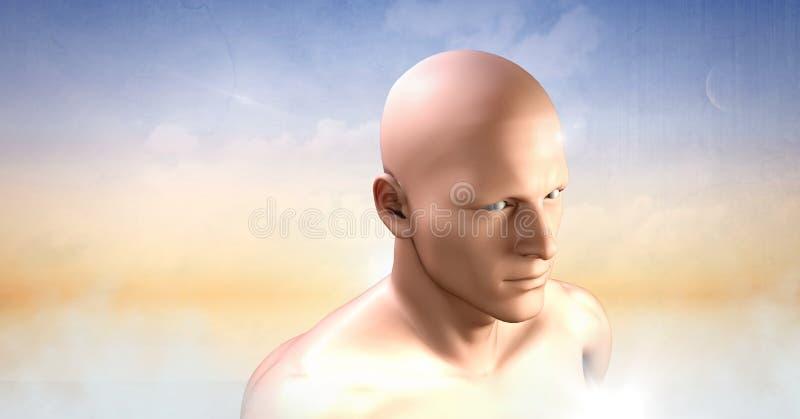 Equipaggia la testa in nuvole illustrazione vettoriale