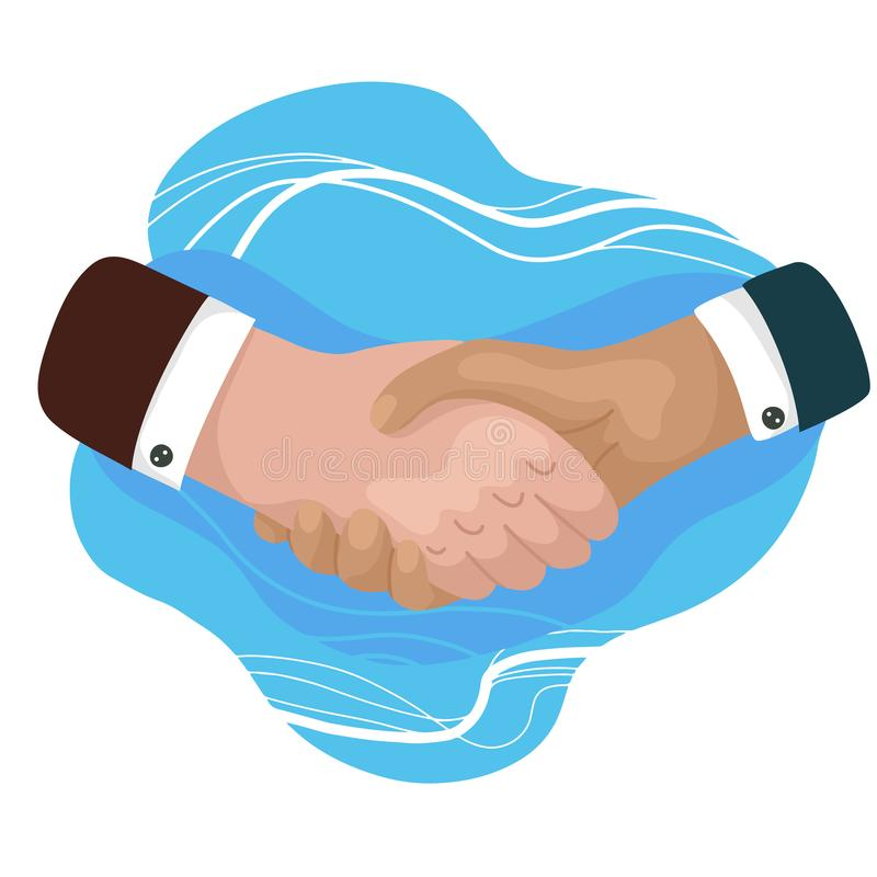 Equipaggia stringere le mani Uomo d'affari che fa un affare Giorno internazionale di amicizia Illustrazione piana del fumetto di  illustrazione vettoriale