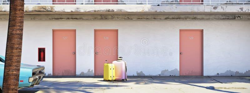 Equipaje al lado del coche parqueado fuera del motel representación 3d stock de ilustración