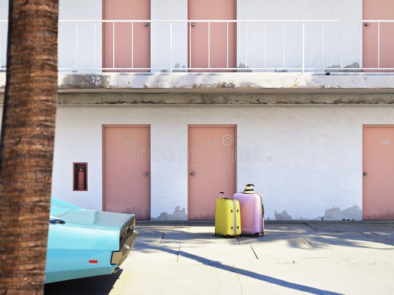 Equipaje al lado del coche parqueado fuera del motel representación 3d ilustración del vector