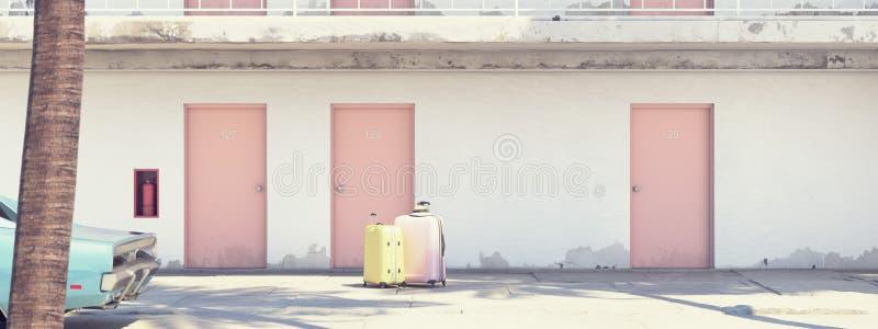 Equipaje al lado del coche parqueado fuera del motel representación 3d libre illustration