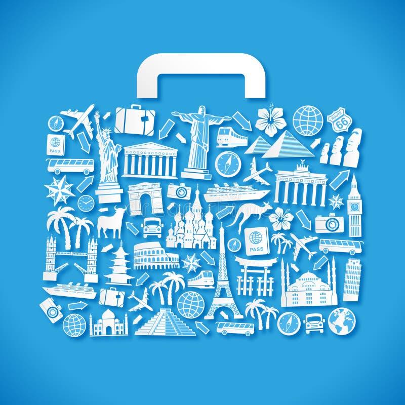 Equipaje azul del vector del viaje libre illustration