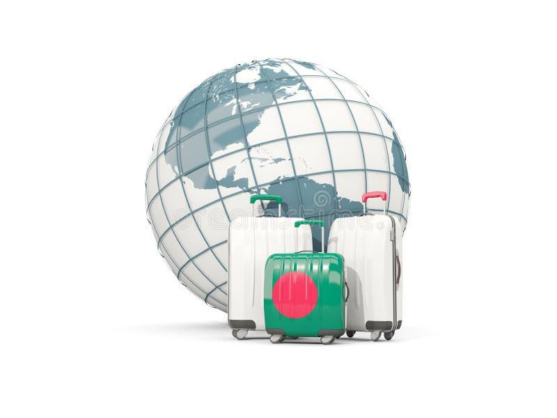 Equipaje con la bandera de Bangladesh Tres bolsos delante del globo libre illustration