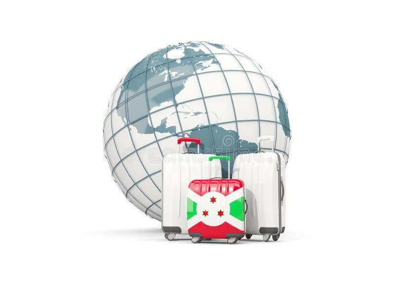 Equipaje con la bandera de Burundi Tres bolsos delante del globo ilustración del vector
