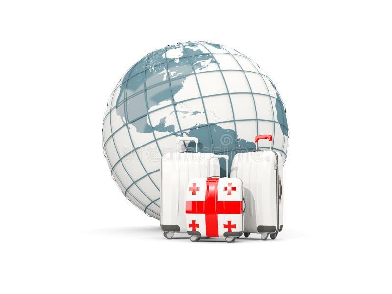 Equipaje con la bandera de Georgia Tres bolsos delante del globo stock de ilustración