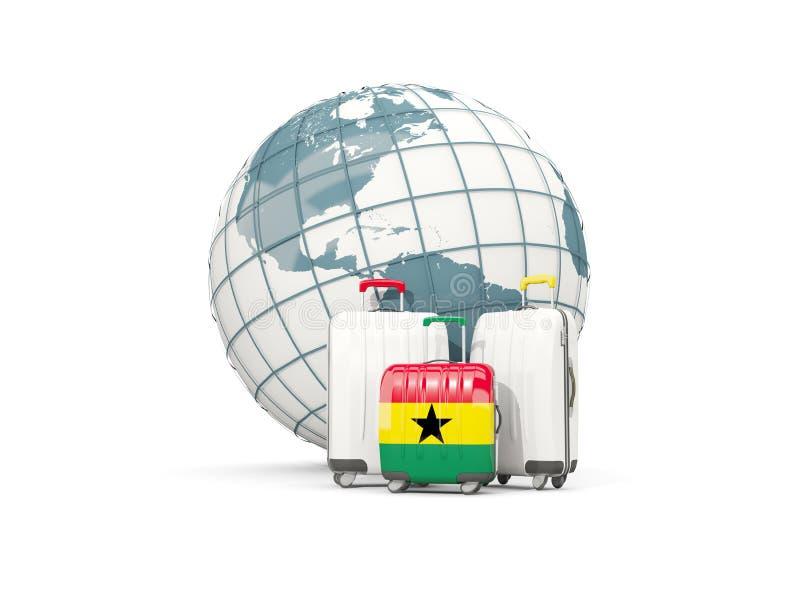 Equipaje con la bandera de Ghana Tres bolsos delante del globo ilustración del vector