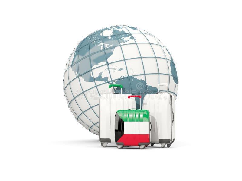 Equipaje con la bandera de Kuwait Tres bolsos delante del globo libre illustration