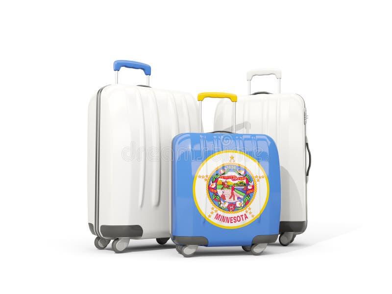 Equipaje con la bandera de Minnesota Tres bolsos con el lo de Estados Unidos ilustración del vector