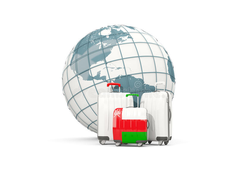 Equipaje con la bandera de Omán Tres bolsos delante del globo libre illustration