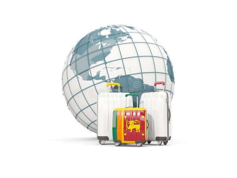 Equipaje con la bandera de Sri Lanka Tres bolsos delante del globo ilustración del vector