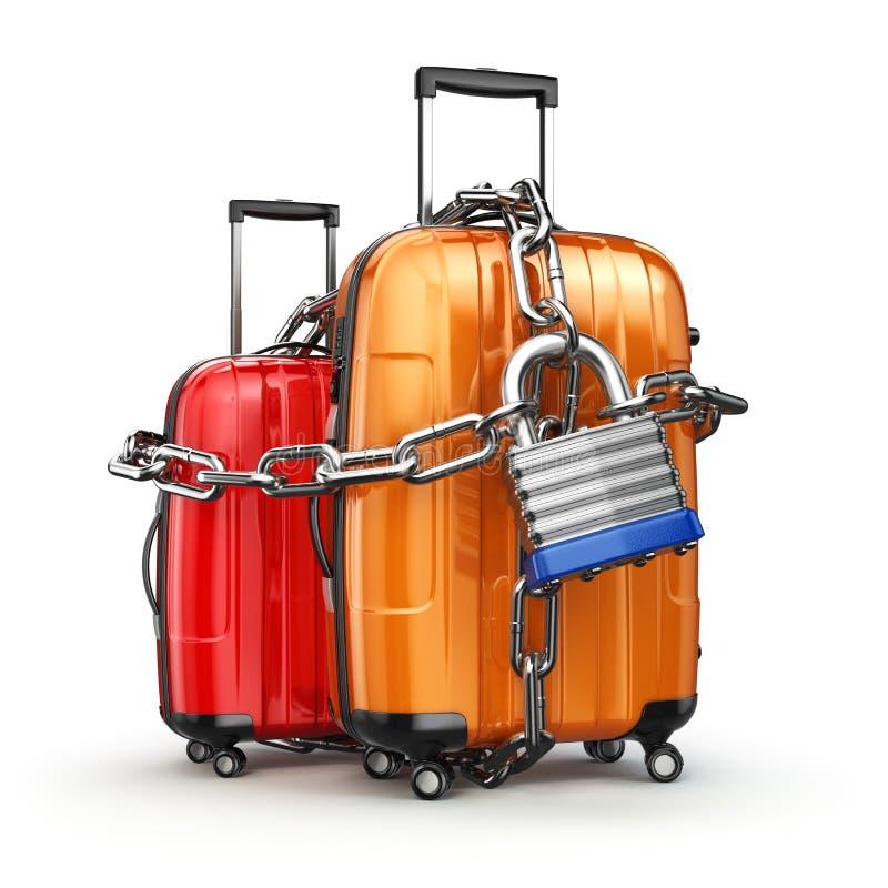 Equipaje con la cadena y la cerradura Seguridad y seguridad del equipaje o de e stock de ilustración
