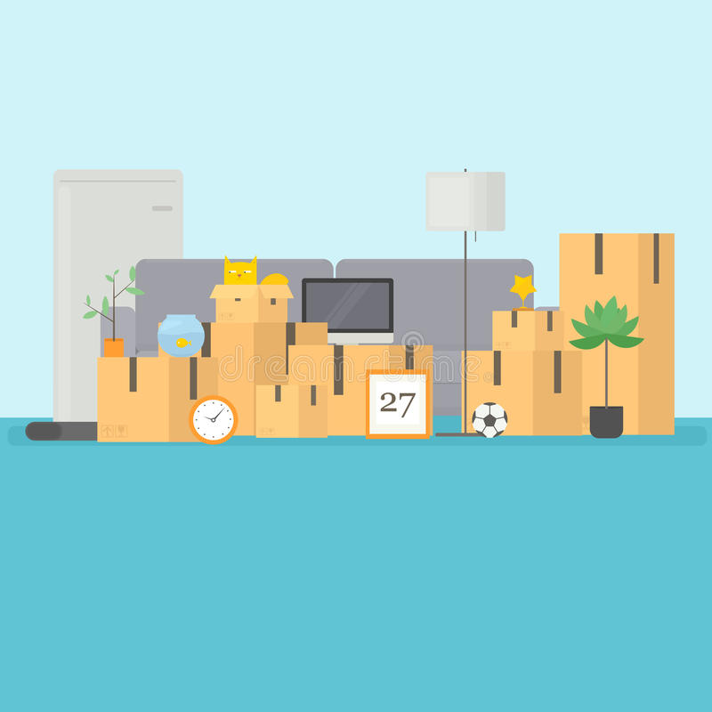 Equipaje de la nueva casa stock de ilustración