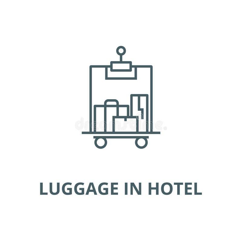 Equipaje en la línea icono, concepto linear, muestra del esquema, símbolo del vector del hotel libre illustration