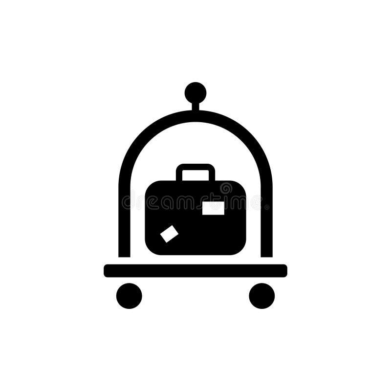 Equipaje, equipaje, icono del vector de la carretilla de las maletas stock de ilustración