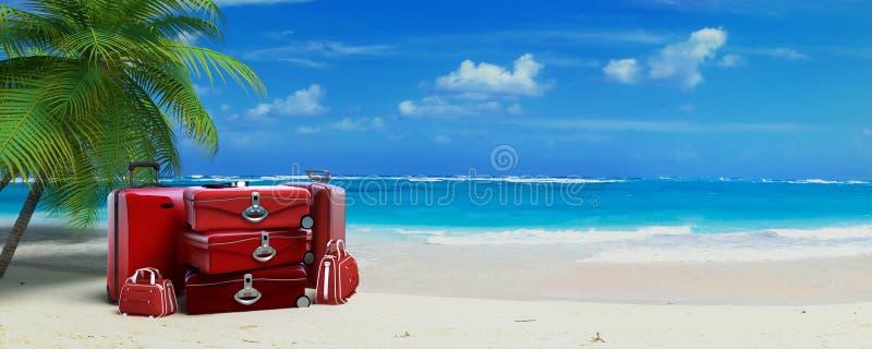 Equipaje rojo en playa tropical fotos de archivo