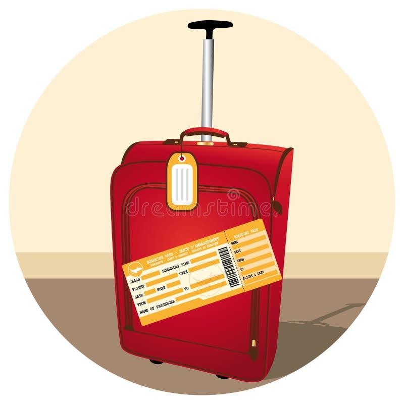 Equipaje rojo hermoso con el billete de avi?n ejemplo II stock de ilustración