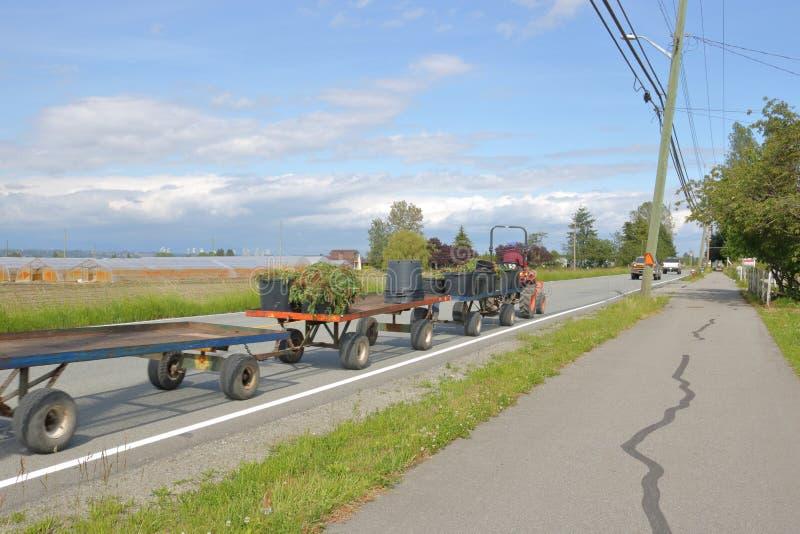 Equipamento agrícola na estrada imagem de stock royalty free